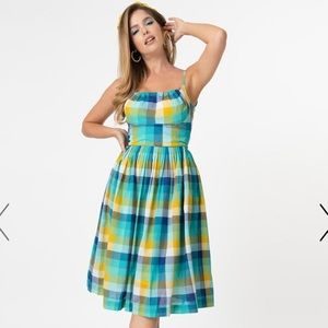 Emily and Fin Green Blue Plaid Swing Dress